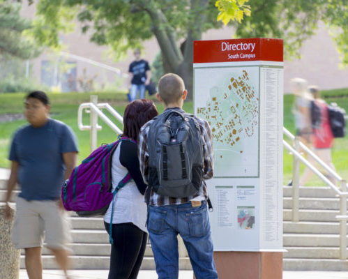 Students studying South Campus Directory (Kiosk) University of Utah