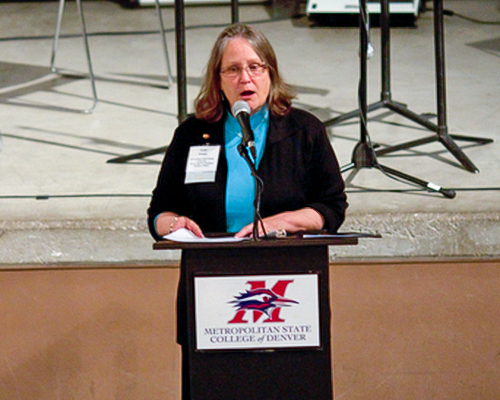 Vicki Golich, provost and vice president for academic and student affairs at Metropolitan State University, and Forum Executive Committee member
