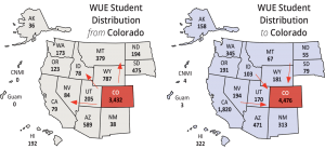 WICHE maps highlighting Colorado student migration