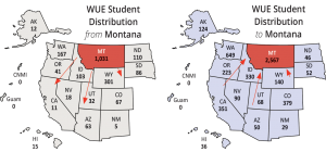 WICHE maps highlighting Montana student migration