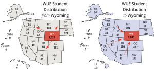 WICHE maps highlighting Wyoming student migration